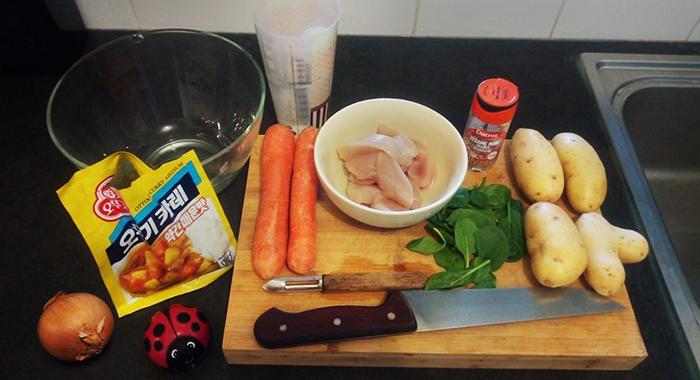 ingrédients préparation curry épicé