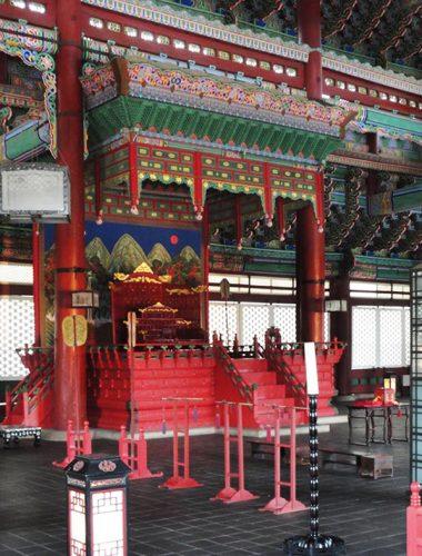 salle de trône du roi Geunjeongjeon palais royal coréen gyeongbokgung séoul corée du sud architecture traditionnel culture histoire asie idée de voyage visite touristique